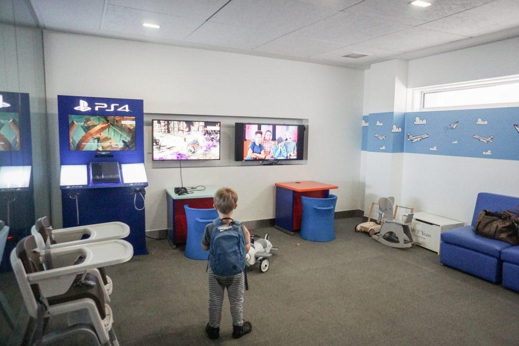 child in British Airways Lounge in Heathrow Terminal 5 entering with British Airways Silver Status