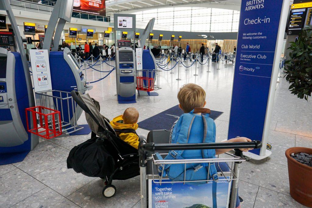 Children at British Airways business class check in, free with British Airways Silver Status
